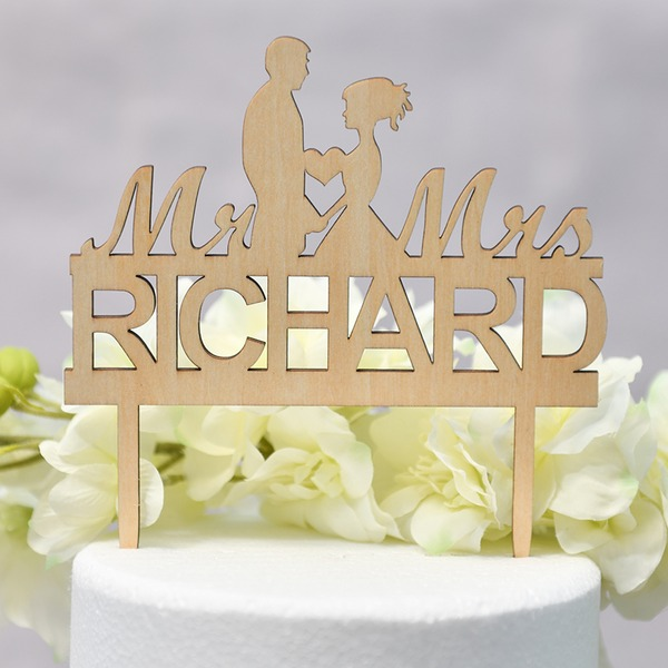 Couple classique/Mr & Mrs Bois Décoration pour gâteaux (Vendu dans une seule pièce)