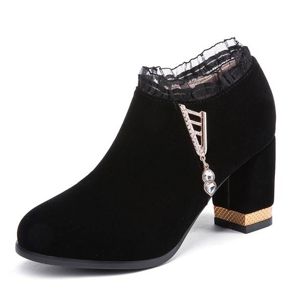 Women's Suede Chunky Heel Pumps shoes