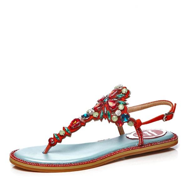 Vrouwen Echt leer Flat Heel Sandalen Flats Peep Toe Slingbacks met Strass Bloem schoenen