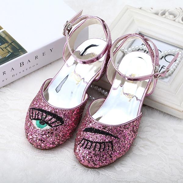 Fille de Bout fermé Glitter mousseux Low Heel Chaussures plates Chaussures de fille de fleur avec Boucle Pailletes scintillantes