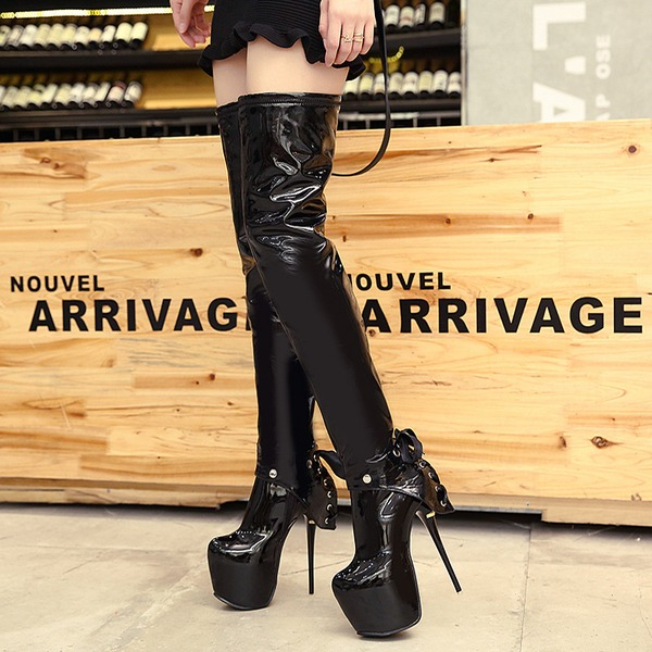 Kvinnor Lackskinn Stilettklack Pumps Plattform Over The Knee Boots med Bowknot Zipper skor