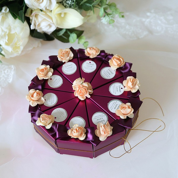 Amour pour toujours Cubique Carte papier Boîtes cadeaux avec Fleur(s) (Lot de 10)
