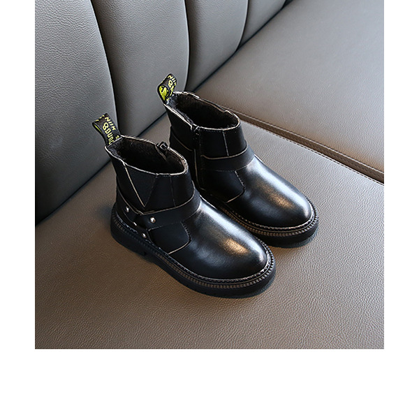 Unisex Ankle Boots Leatherette Boots With Rivet Zipper