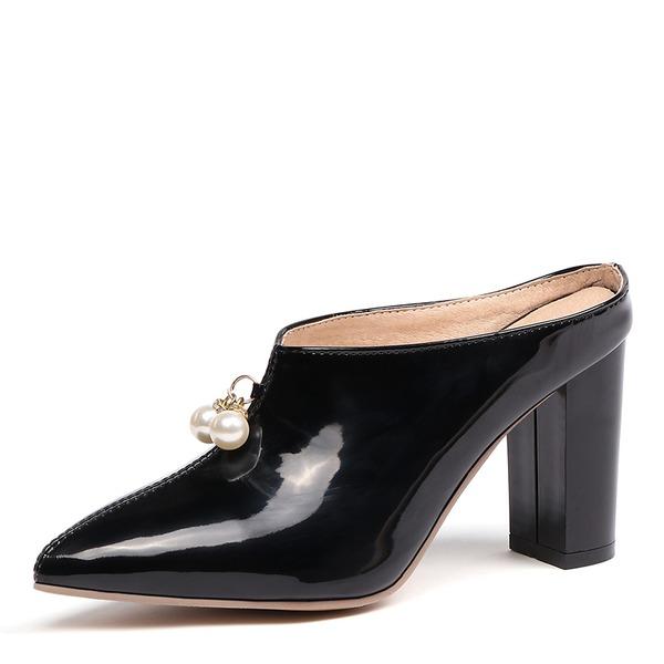 Naisten Kiiltonahka Chunky heel Avokkaat Kantiohihnakengät kengät