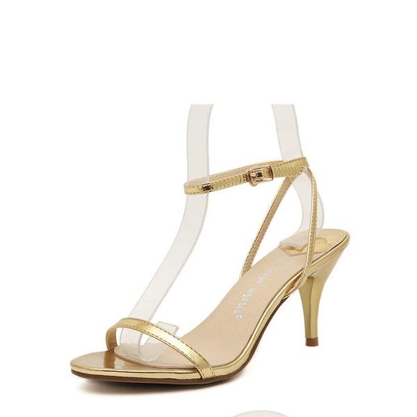 Frauen Kunstleder Kegel Absatz Sandalen Peep Toe mit Schnalle Schuhe