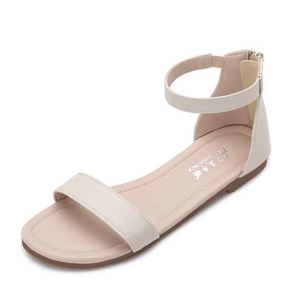 Frauen Microfaser-Leder Flascher Absatz Sandalen Flache Schuhe Peep Toe Schuhe