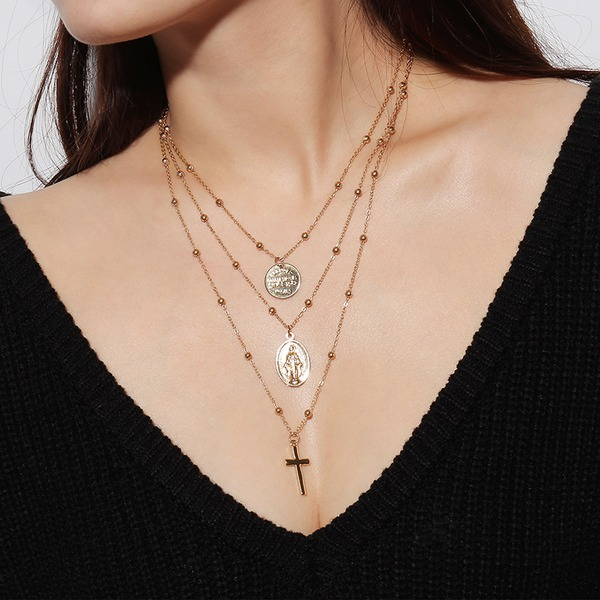 Unique Alloy With Gold Plated Ladies' Fashion Necklace (Sold in a single piece)