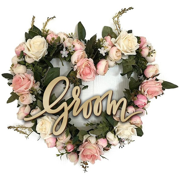 Sposa e Sposo Bella/Attraente Legno Wedding Sign (Set di 2)