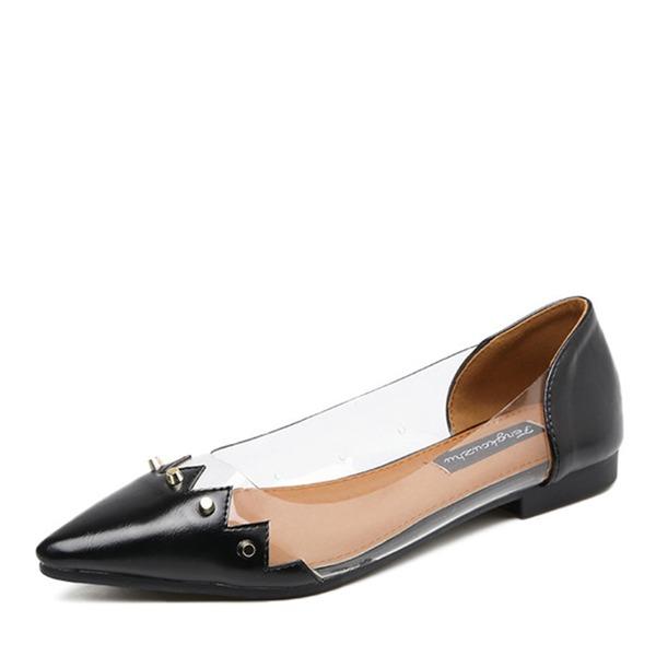 De mujer Cuero Planos Cerrados con Rivet zapatos