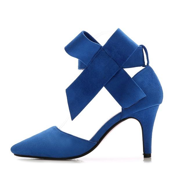 Dla kobiet Zamsz Obcas Stiletto Sandały Czólenka Zakryte Palce Z Kokarda obuwie
