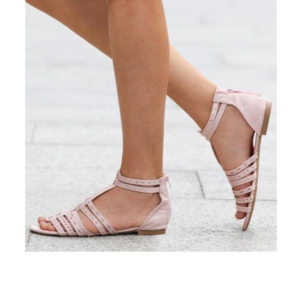 Femmes Suède Talon plat Sandales Chaussures plates À bout ouvert avec Ouvertes chaussures