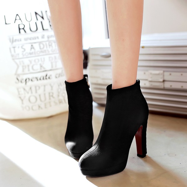 Women's Suede Chunky Heel Pumps Platform Boots With Zipper Chain shoes