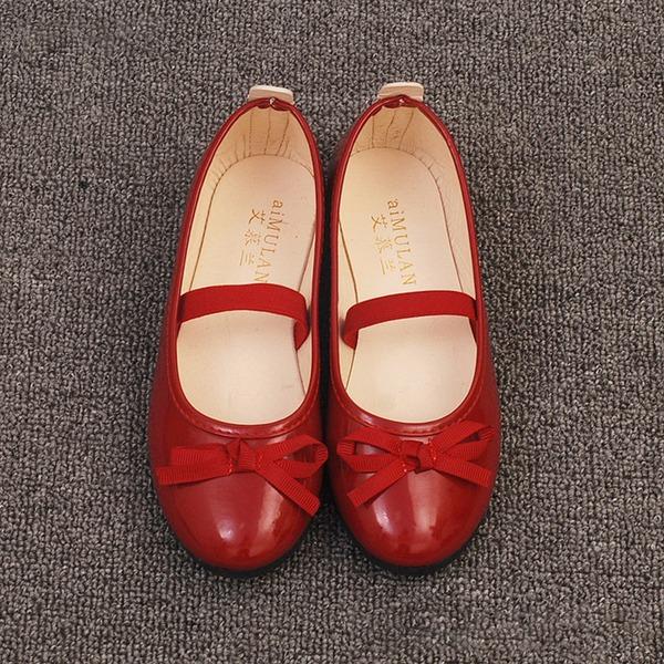 Muchacha Punta Cerrada Mary Jane Ballet plano Kunstleder Talón plano Planos Zapatos de niña de las flores con Bowknot