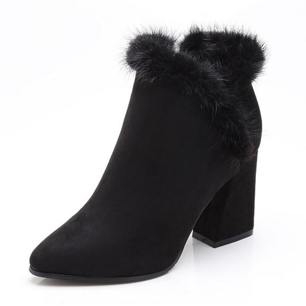 Kadın Süet Kalın Topuk Kapalı Toe Bot Ayak bileği Boots Ile Diğerleri ayakkabı