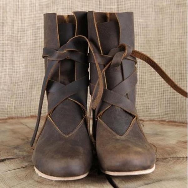 Женщины кожа Высокий тонкий каблук На плокой подошве Ботинки Сапоги до середины голени с Шнуровка обувь