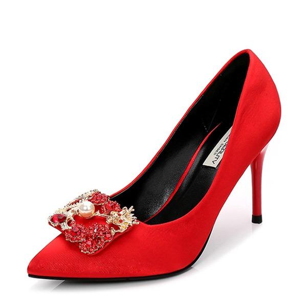 Vrouwen Satijn Stiletto Heel Pumps Closed Toe met Strass Imitatie Parel schoenen