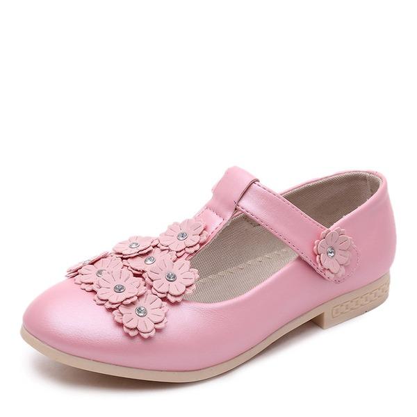 A menina de Toe rodada Fechados imitação de couro Heel plana Sem salto Sapatas do florista com Velcro Flor