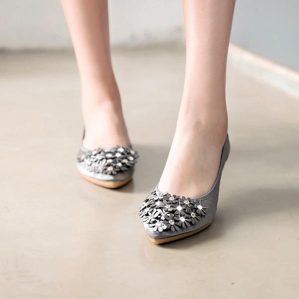 Frauen Satin Flascher Absatz Flache Schuhe Geschlossene Zehe mit Strass Blume Schuhe