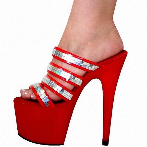 Vrouwen PVC Stiletto Heel Sandalen Pumps Plateau Peep Toe Slingbacks met Klinknagel schoenen