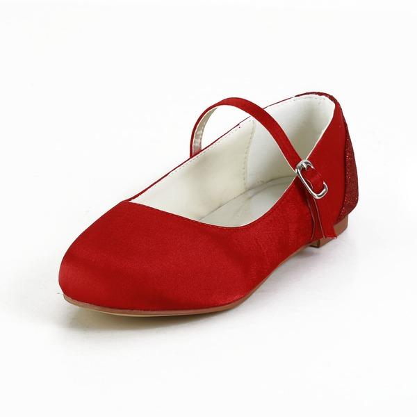 Fille de Bout fermé Satin Glitter mousseux talon plat Chaussures plates Chaussures de fille de fleur avec Boucle