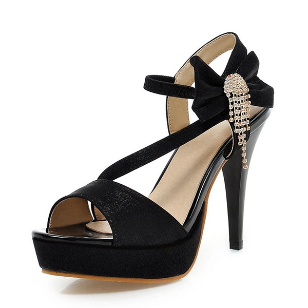 Mulheres Couro Salto agulha Sandálias Bombas Plataforma Peep toe Sapatos abertos com Bowknot Franja sapatos