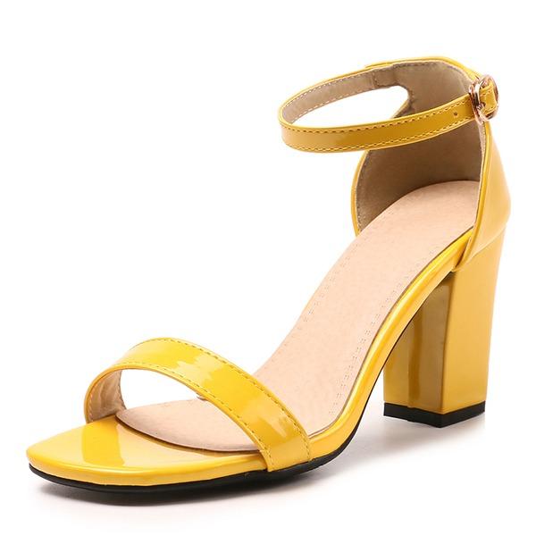 De mujer Piel brillante Tacón ancho Sandalias Salón Encaje con Hebilla zapatos