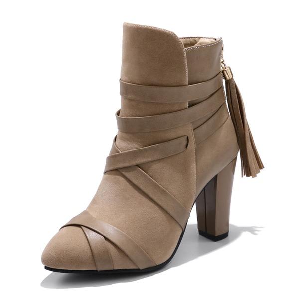 Frauen Veloursleder Kunstleder Stöckel Absatz Absatzschuhe Stiefel mit Zuschnüren Schuhe