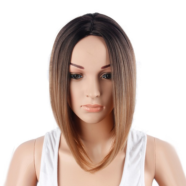 Straight Bob Mid-Length Synthetic Wigs (Sold in a single piece)