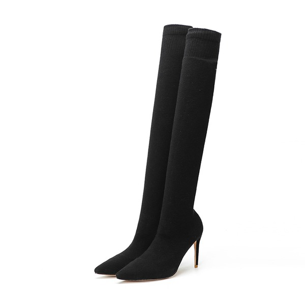 Kvinnor Tyg Stilettklack Pumps Stängt Toe Over The Knee Boots skor