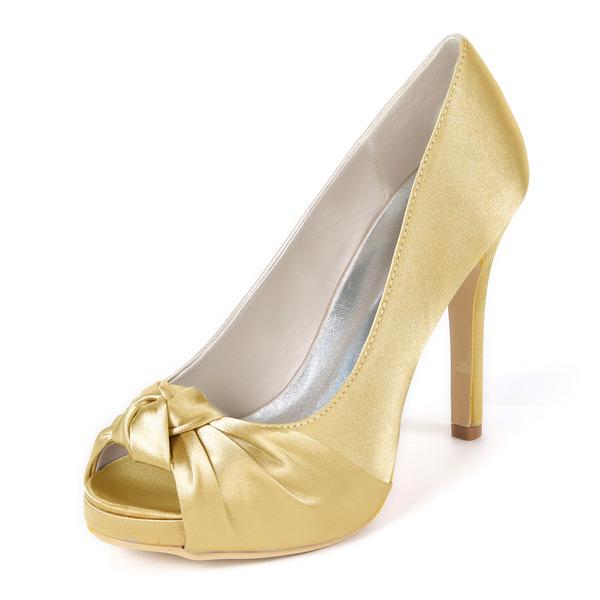 Women's Silk Like Satin Stiletto Heel Peep Toe Platform Pumps With Ruffles
