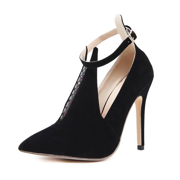 Kadın Süet İnce Topuk Pompalar Kapalı Toe Ile Toka ayakkabı
