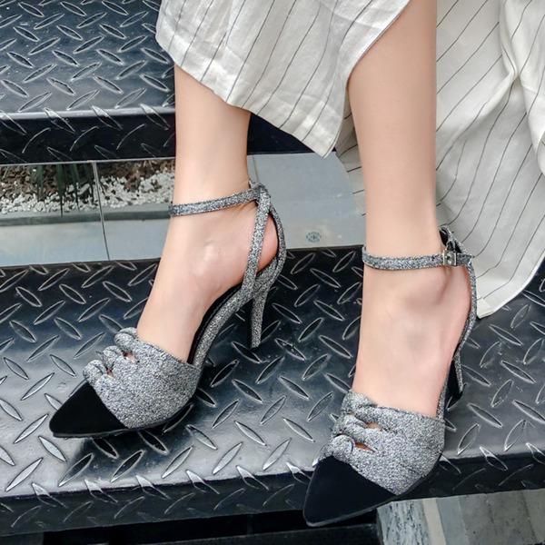 Dla kobiet Zamsz Obcas Stiletto Sandały Czólenka Otwarty Nosek Buta Z Klamra obuwie