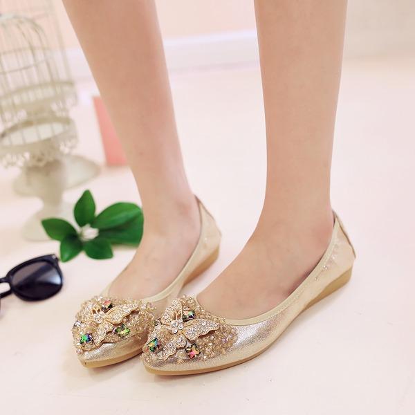Frauen PU Flascher Absatz Flache Schuhe Geschlossene Zehe mit Strass Schuhe