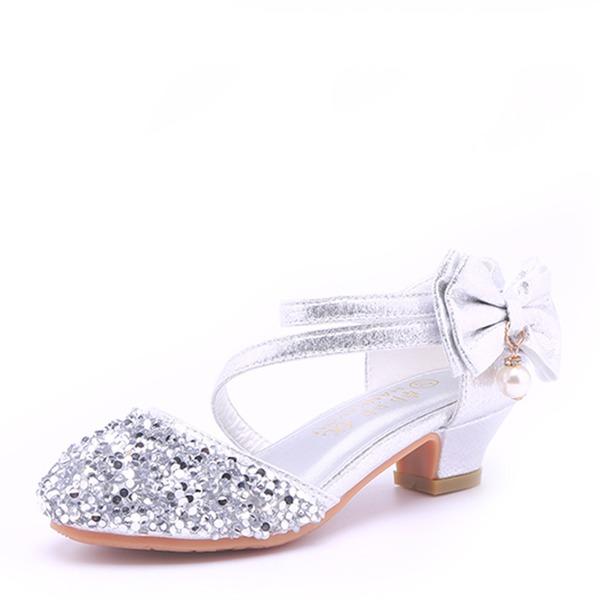 Jentas Round Toe Lukket Tå Microfiber Lær lav Heel Sandaler Flower Girl Shoes med Bowknot