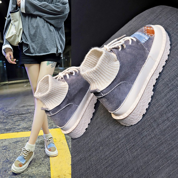 Kvinder Stof Lav Hæl Støvler med Delt Bindeled sko