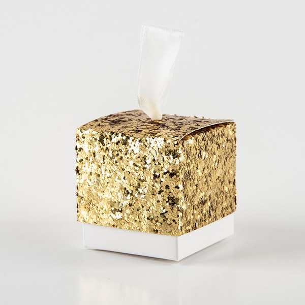 Creative/Classic Cubic paper/sequin Favor Boxes (Set of 12)