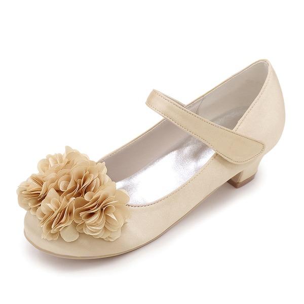 Bout fermé Low Heel Escarpins Chaussures de fille de fleur