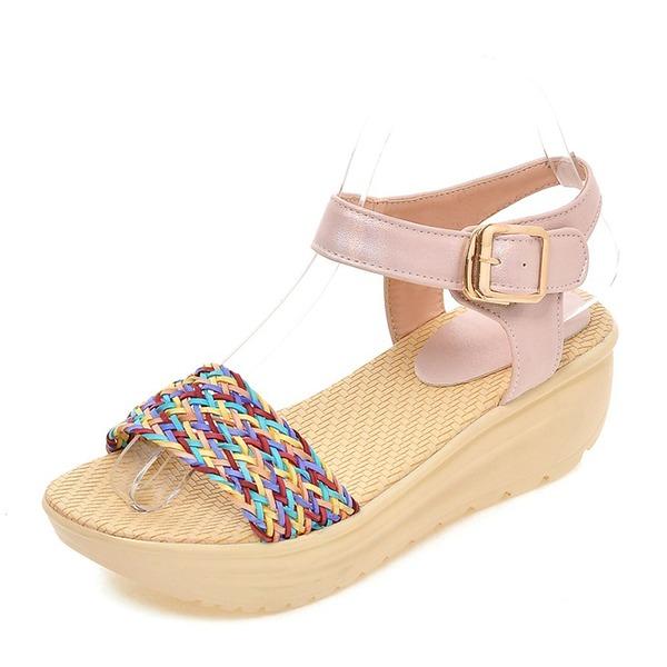 Kvinder PVC Kile Hæl sandaler Pumps Kiler Kigge Tå Slingbacks med Spænde sko