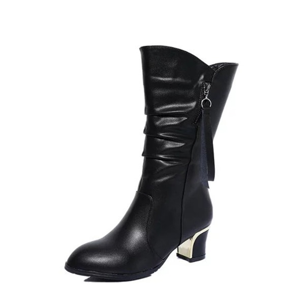 Women's Leatherette Chunky Heel Closed Toe Boots Mid-Calf Boots shoes