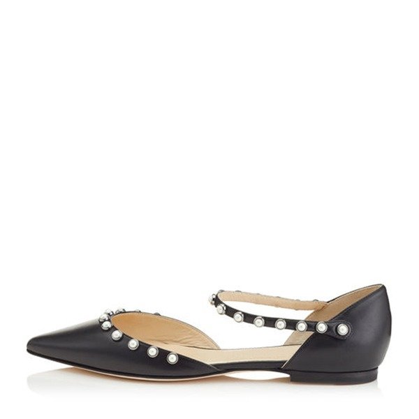 Vrouwen Kunstleer Low Heel Flats Closed Toe met Imitatie Parel schoenen
