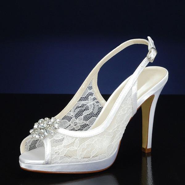 Women's Lace Silk Like Satin Stiletto Heel Platform Pumps With Rhinestone