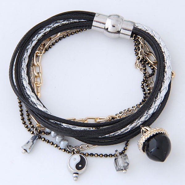 Mode Legierung Lederseil Frauen Mode Armbänder (Sold in a single piece)