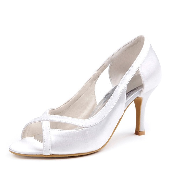 Women's Silk Like Satin Stiletto Heel Peep Toe Sandals