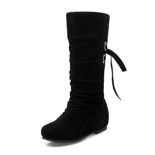 Kadın Süet Düz Topuk Daireler Kapalı Toe Bot Diz Yüksek Boots Mid-Buzağı Boots Ile Bağcıklı ayakkabı