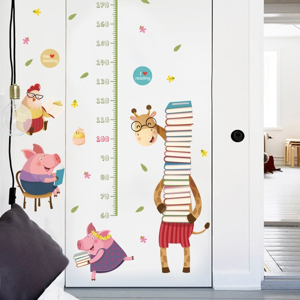 DIY cartoon giraffe wallpaper height sticker (Sold in a single piece)