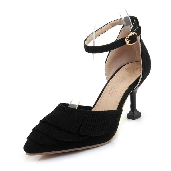 Women's Suede Stiletto Heel Sandals Pumps With Buckle Tassel shoes