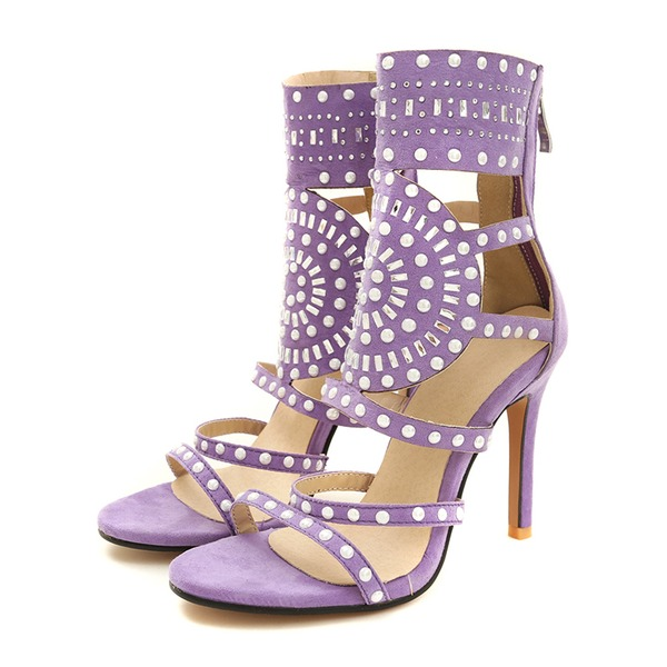Vrouwen Suede Stiletto Heel Sandalen Pumps met Klinknagel Hol-out schoenen