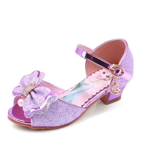 Girl's Peep Toe Leatherette Low Heel Pumps Flower Girl Shoes With Beading Bowknot Buckle Sparkling Glitter