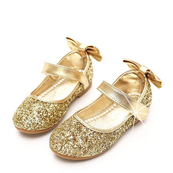 A menina de Toe rodada Fechados Glitter espumante Heel plana Sapatas do florista com Bowknot Espumante Glitter Velcro