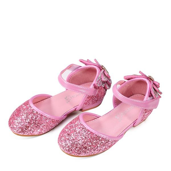Jentas Round Toe Lukket Tå Leather Sparkling Glitter Flate sko med Bowknot Velcro